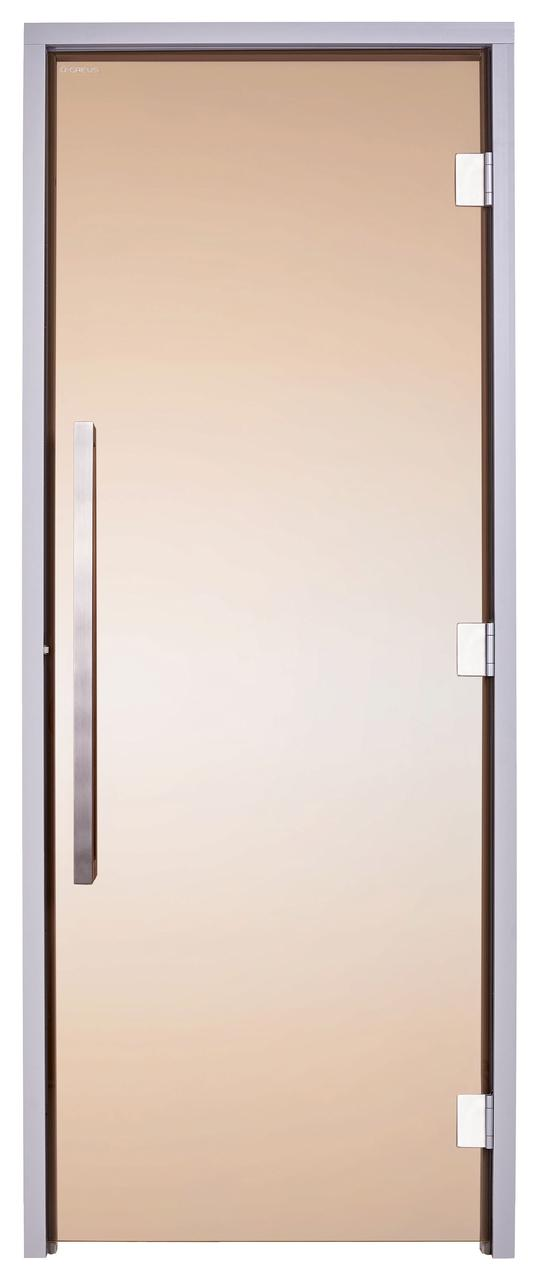 Стеклянная дверь для хаммама GREUS Exclusive 70/190 бронза 2 петли
