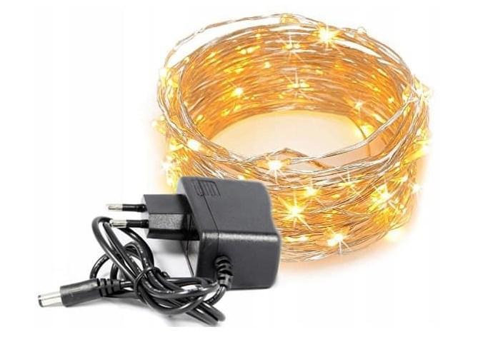 Світлодіодна гірлянда Крапля Роси 100led 10 метрів, 8 режимів світіння 220V Теплий золотистий