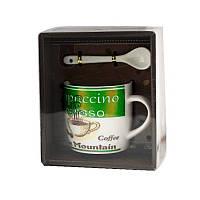 Чашка с ложечкой в подарочной упаковке Blue Mountain Coffee зеленая