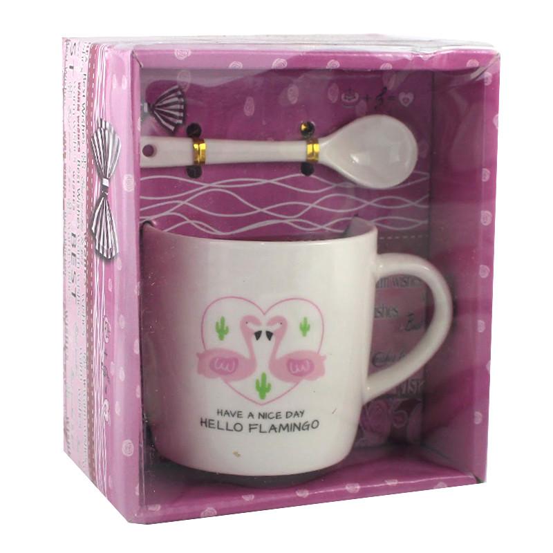 Чашка з ложечкою в подарунковій упаковці Flamingo Love