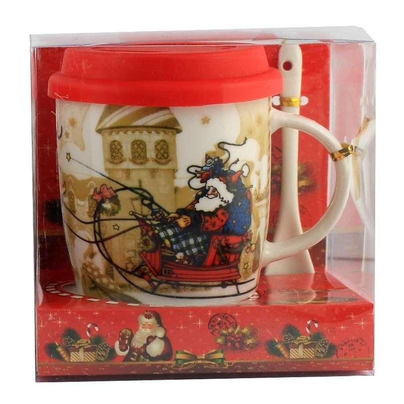 Чашка с силиконовой крышкой и ложкой Christmas Sled