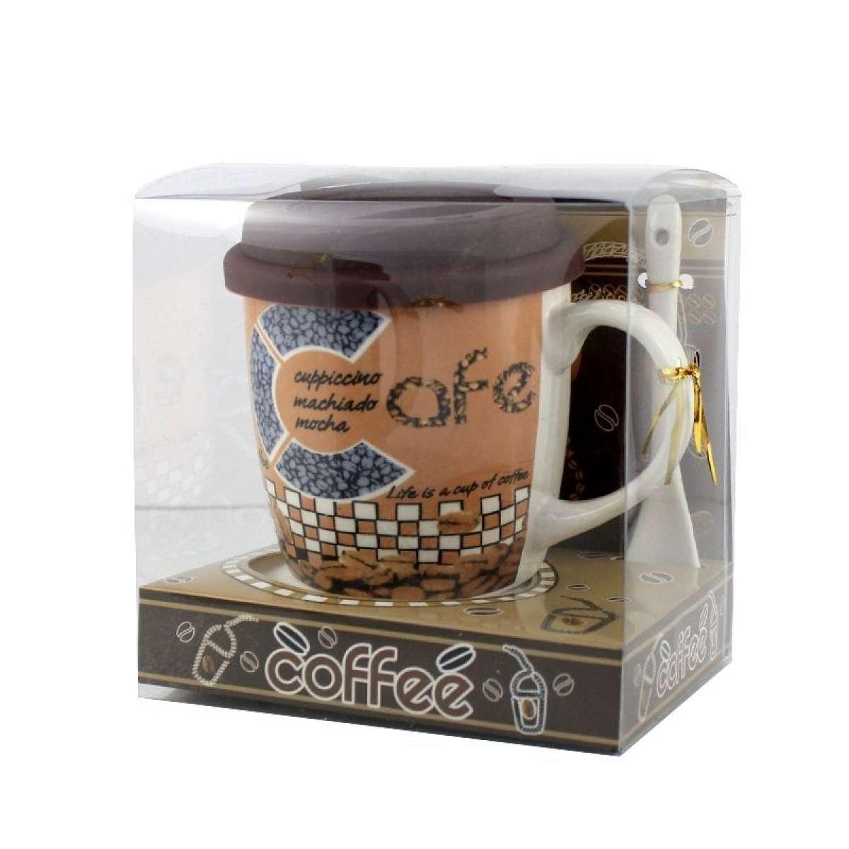 Чашка с силиконовой крышкой и ложкой Coffee капучино