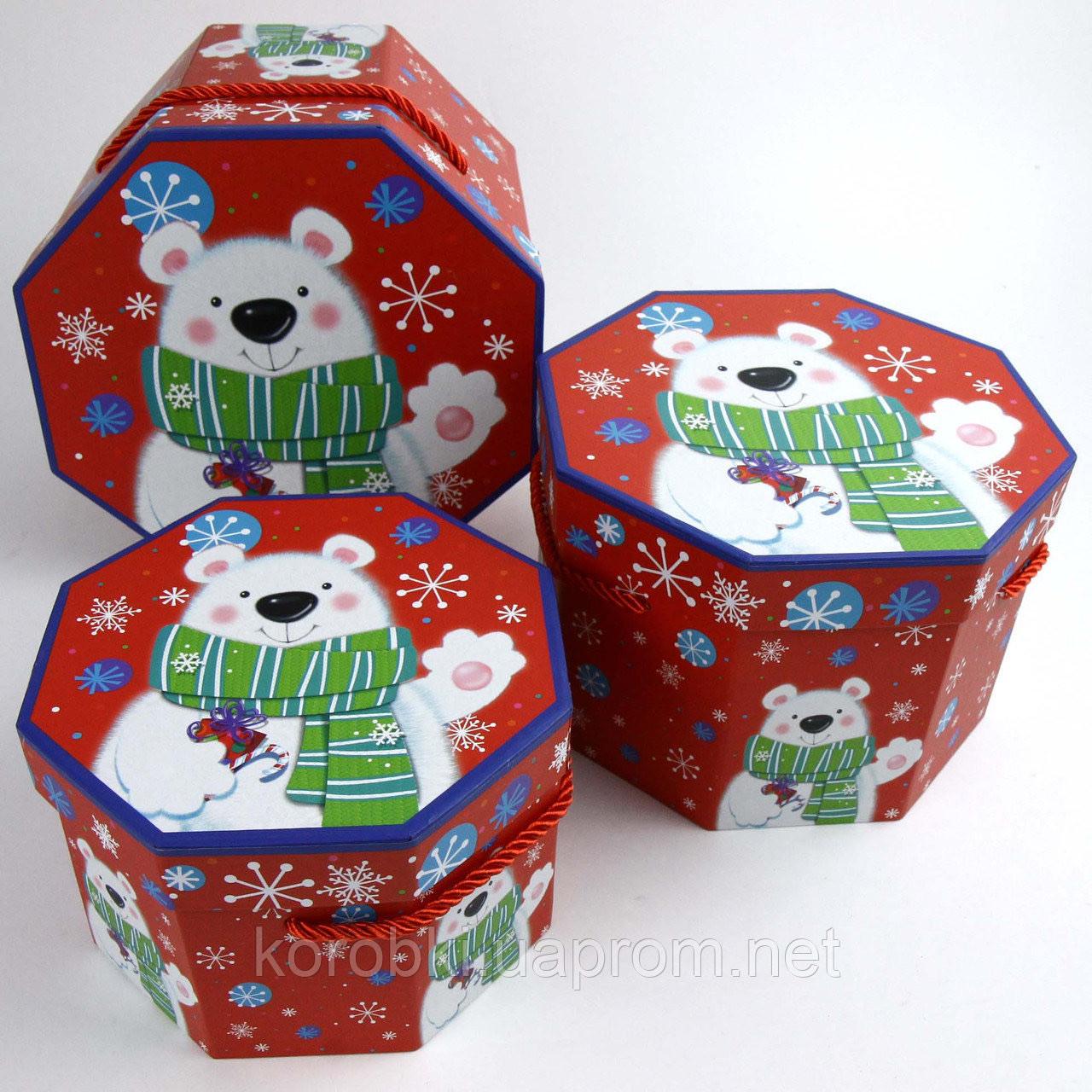 """Коробка подарункова восьмикутна """"Новорічна, Ведмедик"""" №2 198, Коробка новогодняя подарочная """"Мишка"""""""