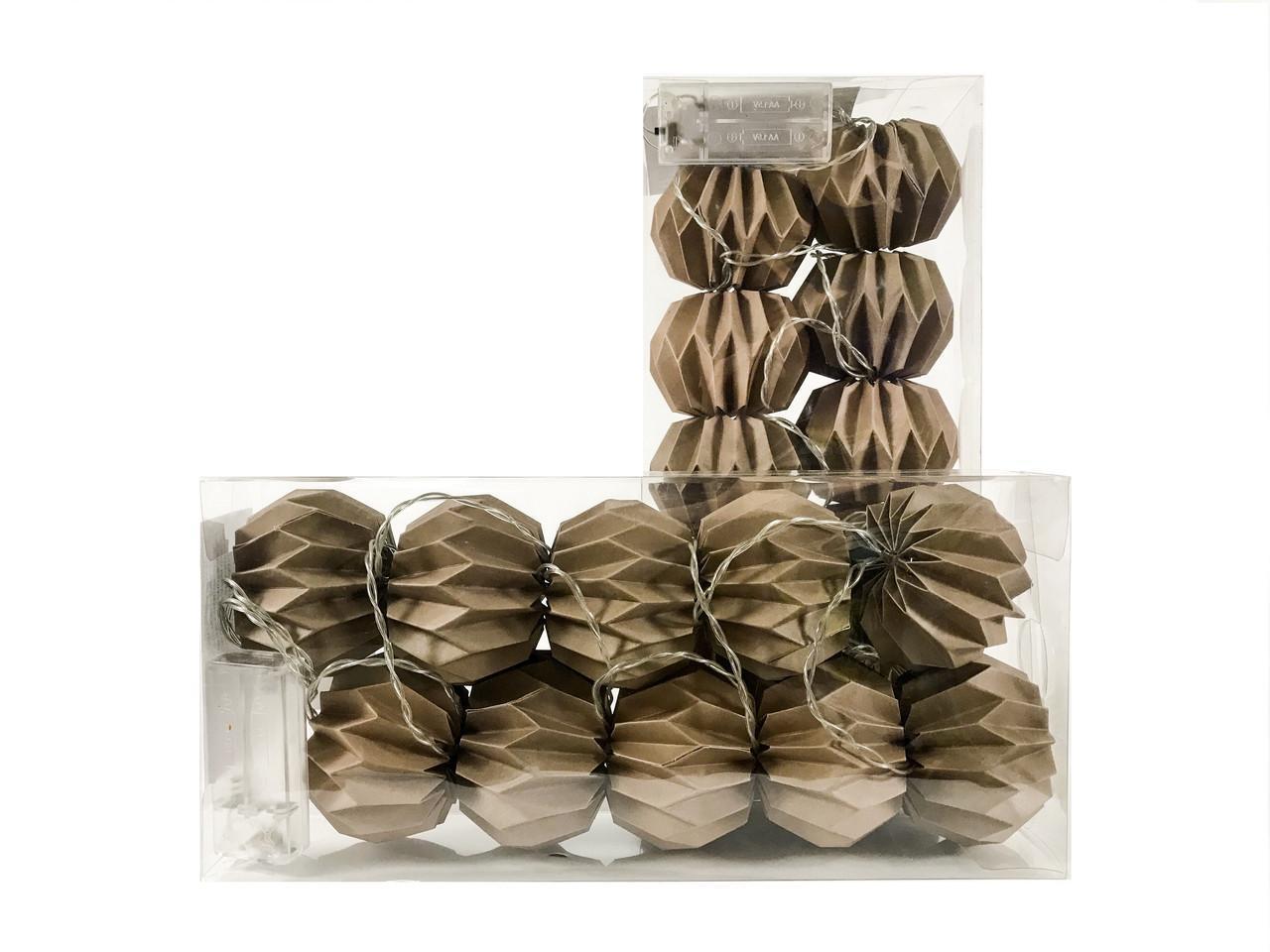 Гірлянда Decorino Capuccino Paper Balls 10led, діам 7.5 см, довжина 235см на батарейках АА