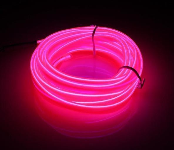Гнучкий світлодіодний неон Рожевий Neon Glow Light Pink - 3 метра стрічки на батарейках 2 AA