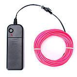 Гнучкий світлодіодний неон Рожевий Neon Glow Light Pink - 3 метра стрічки на батарейках 2 AA, фото 4
