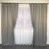 Солнцезащитные шторы | Шторы из мешковины | Готовые шторы из льна | 100% защита от солнца | Серые шторы |, фото 2