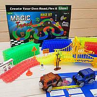 Светящаяся дорога Magic Tracks 360 деталей Меджик трек 2 машинки джип внедорожник, фото 1
