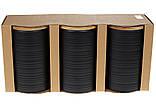 Набір (3шт) керамічних банок 800мл з бамбуковими кришками з об'ємним малюнком Лінії, колір - чорний матовий, фото 2