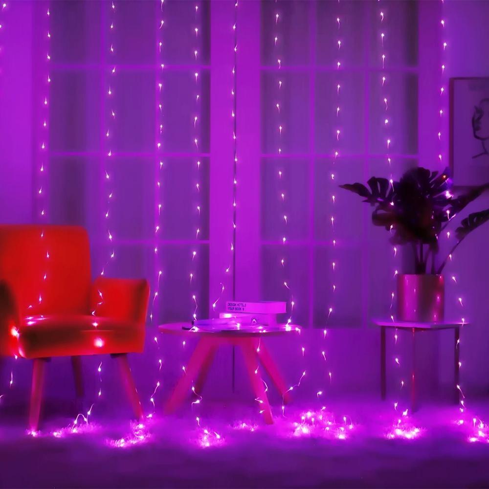 Світлодіодна гірлянда LTL штора curtain крапля роси 3*3 метра 300 led c пультом фіолетова Purple