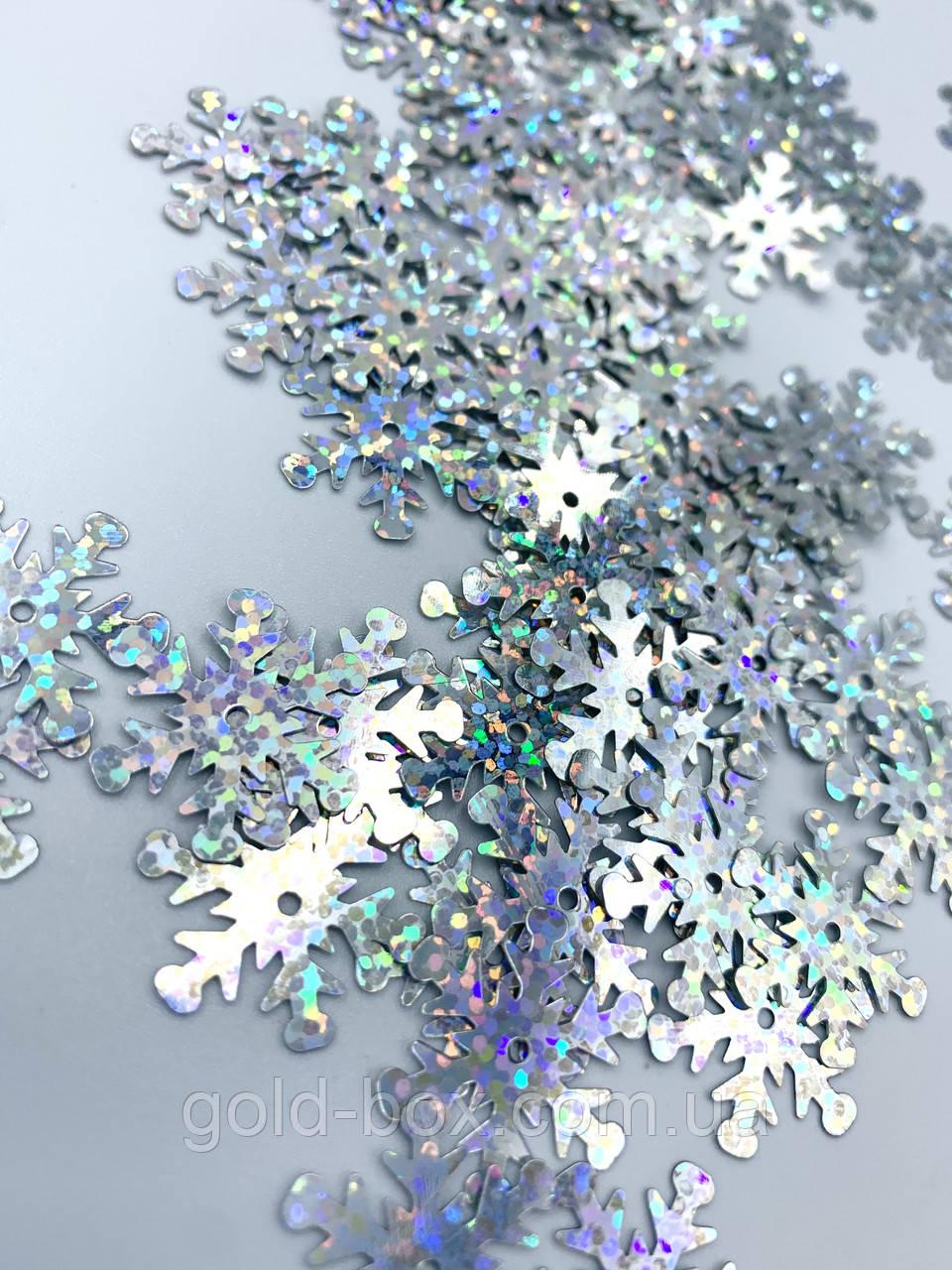 Конфетти голографическая серебренная снежинка 50 грамм 25мм