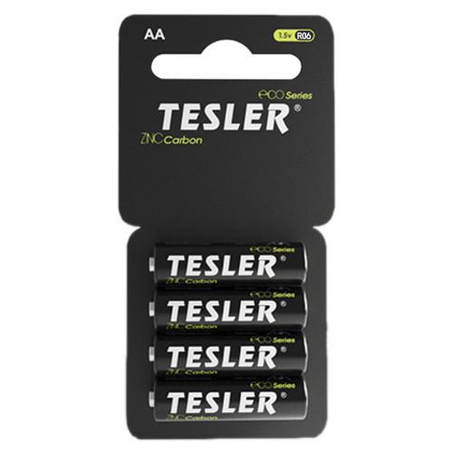 Батарейки АА пальчиковые солевые AA R6 Tesler Zinc Carbone - блистер, 4 шт