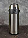 Термос вакуумный 3.5 л Stenson MT-0952 с помпой Сталь, фото 4