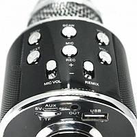 Bluetooth микрофон-караоке WS-858 с динамиком (колонкой), слотом USB и FM тюнером Черный, беспроводной
