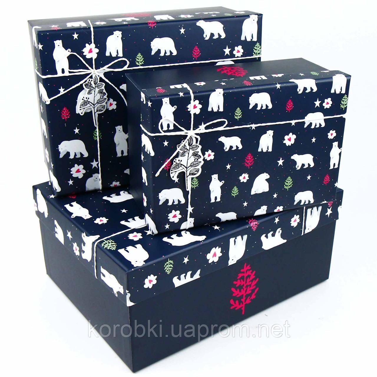 """Коробка подарункова прямокутна """"Новорічна. Ведмеді"""" №2 250, Коробка новогодняя подарочная """"Мишки"""""""