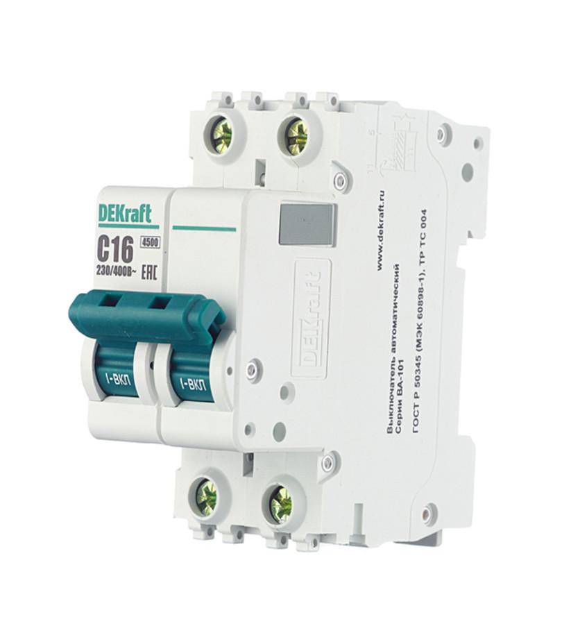 Автоматичний вимикач Dekraft ВА-101 2p 16A C 4,5 kA 11066DEK