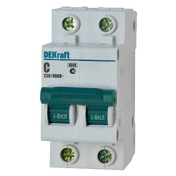 Автоматичний вимикач Dekraft ВА-101 2p 25A C 4,5kA 11068DEK