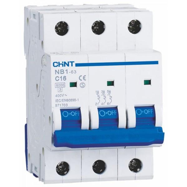 Авт. вимикач Chint NB1-63 3p 16A C 6kA 179700