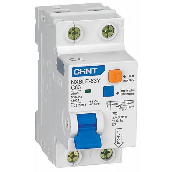 Дифавтомат Chint NXBLE-63 Y 1+Np 25A 4,5kA 30mA C 105544
