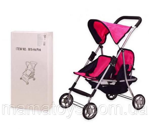 Кукольная Коляска 9618 для двойняшек Melogo Hot pink