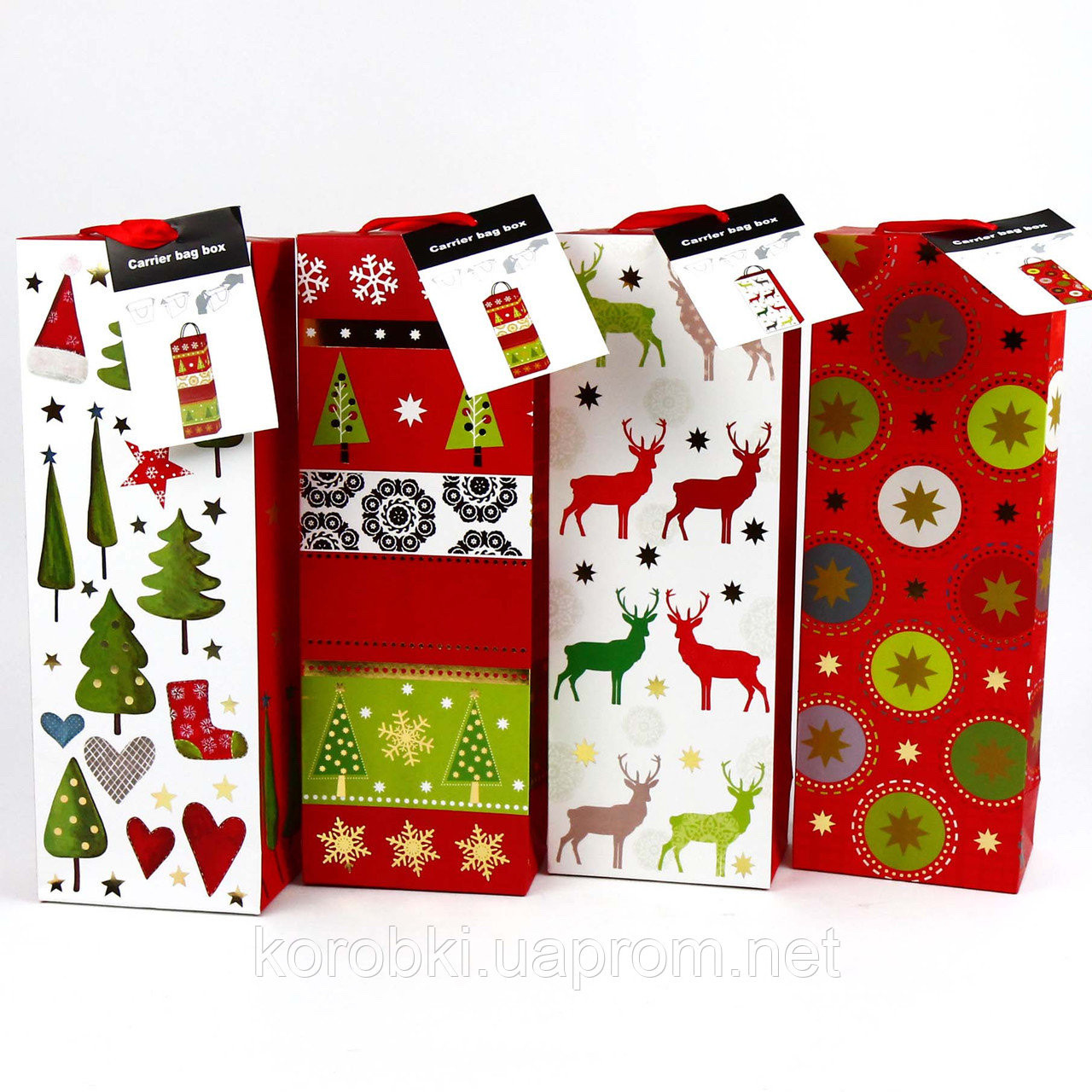 Коробочка - пакет подарункова новорічна, 35 см, мікс, Коробка новогодняя подарочная