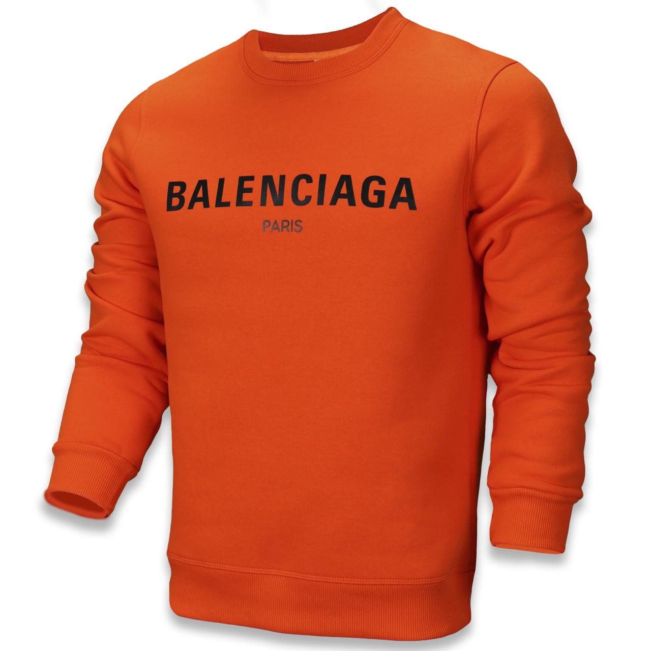 Свитшот осень-зима мужской оранжеый BALENCIAGA с принтом ORN L(Р) 20-510-003