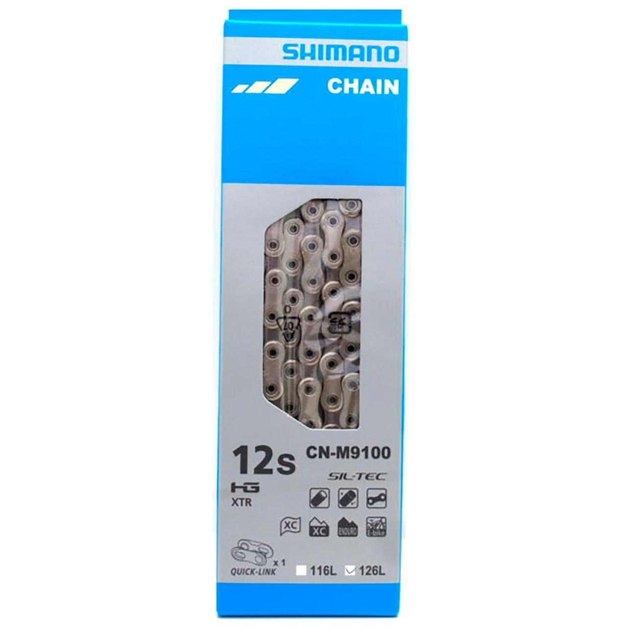 Велосипедная цепь Shimano CN-M9100 XTR, 126 звеньев, SIL-TEC 12 скоростей + QUICK-LINK BOX