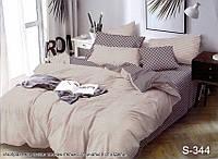 Комплект постельного белья Клетка-Полоска Сатин-люкс Евро