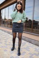Женский кардиган вязаный. Стильный женский свитер фисташкового цвета. Женская вязаная кофта свободного кроя.