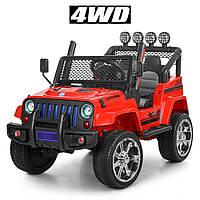 Детский электромобиль ДЖИП Jeep (4 мотора по 45W, 2аккум, MP3, FM) Bambi M 3237EBLR-3 Красный