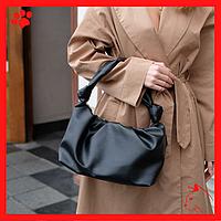 Модная женская сумка среднего размера через плечо из искусственной кожи кожзама экокожи черного цвета 2020