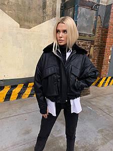 Модная женская куртка-авиатор с рукавом летучая мышь 42-46 р