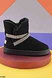 Только на 24 см! Женские угги черные эко - замш /обувной текстиль (замш) высота 13 см, фото 3
