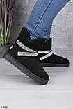 Только на 24 см! Женские угги черные эко - замш /обувной текстиль (замш) высота 13 см, фото 2