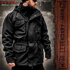 """Куртка мілітарі """"М65"""" BLACK (На флісі) р. М"""