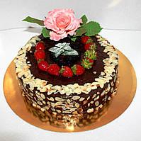 Торт на заказ с  фруктами и сахарной розой