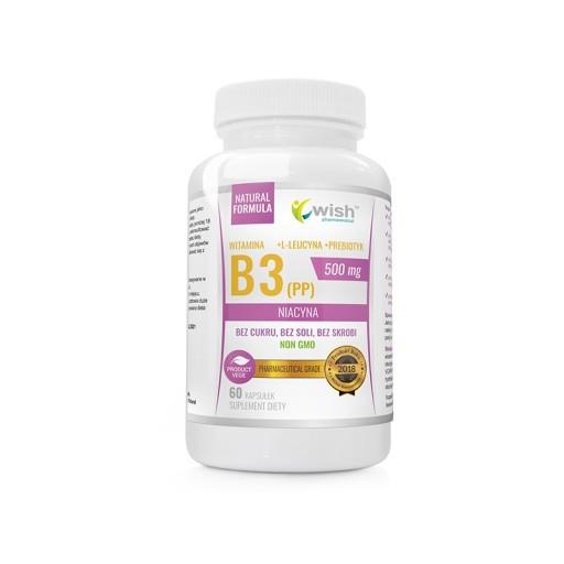 Витамин B3 (PP) Ниацин + пребиотик, 500 мг 60 caps, Wish