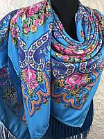 Шерстяной голубой Павлопосадский платок с бахромой и цветочным народным орнаментом