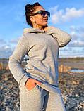 Женский теплый спортивный костюм батник с капюшоном и штаны трехнитка с начесом размер: 42-44, 46-48, фото 3