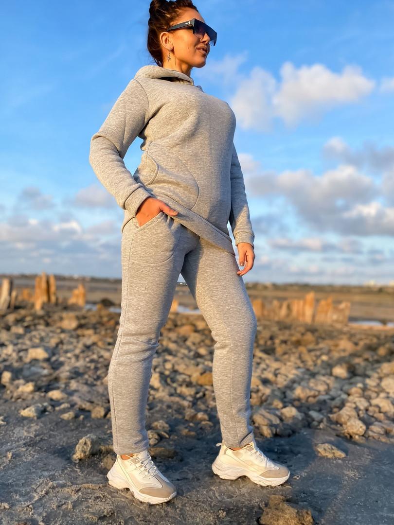 Женский теплый спортивный костюм батник с капюшоном и штаны трехнитка с начесом размер: 42-44, 46-48