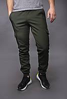 Штаны карго брюки мужские зимние теплые качественные оливковые Softshell Intruder