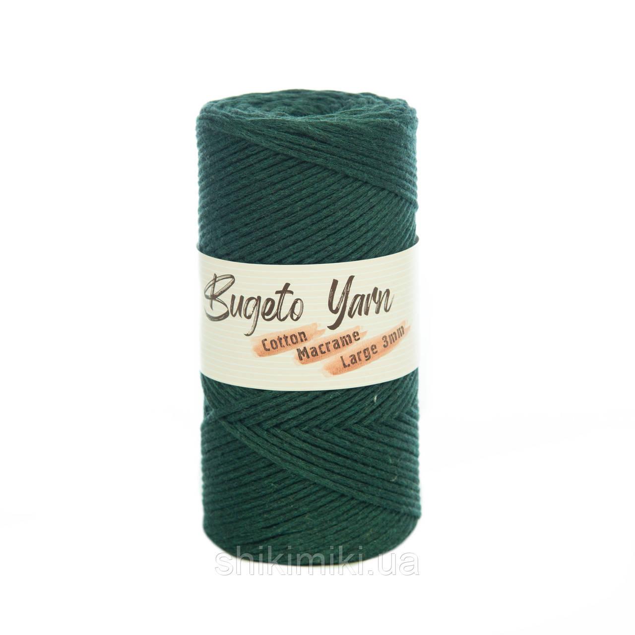 Эко шнур Cotton Macrame Large 3 mm, цвет Темно-зеленый