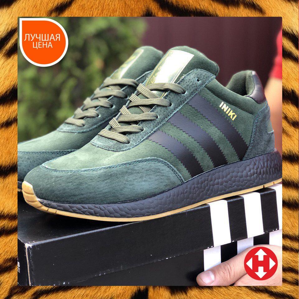 🔥 Ботинки кроссовки мужские зимние Adidas Iniki зеленые кожаные кожа теплые на меху шерстяные меховые