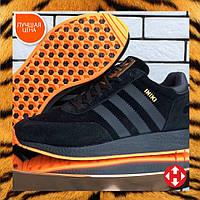 Ботинки кроссовки мужские зимние Adidas Iniki черные кожаные кожа теплые на меху шерстяные меховые