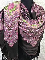 Большой Павлопосадский платок с бахромой и цветочным рисунком