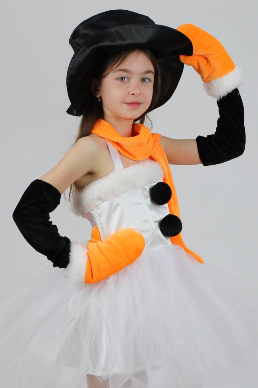 Новогодний карнавальный костюм Снеговик для девочки