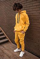 Утепленный мужской костюм спортивный горчичный Оверсайз, фото 1