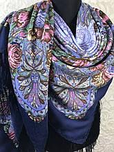 Гарний Павлопосадский хустку з бахромою і квітковим малюнком