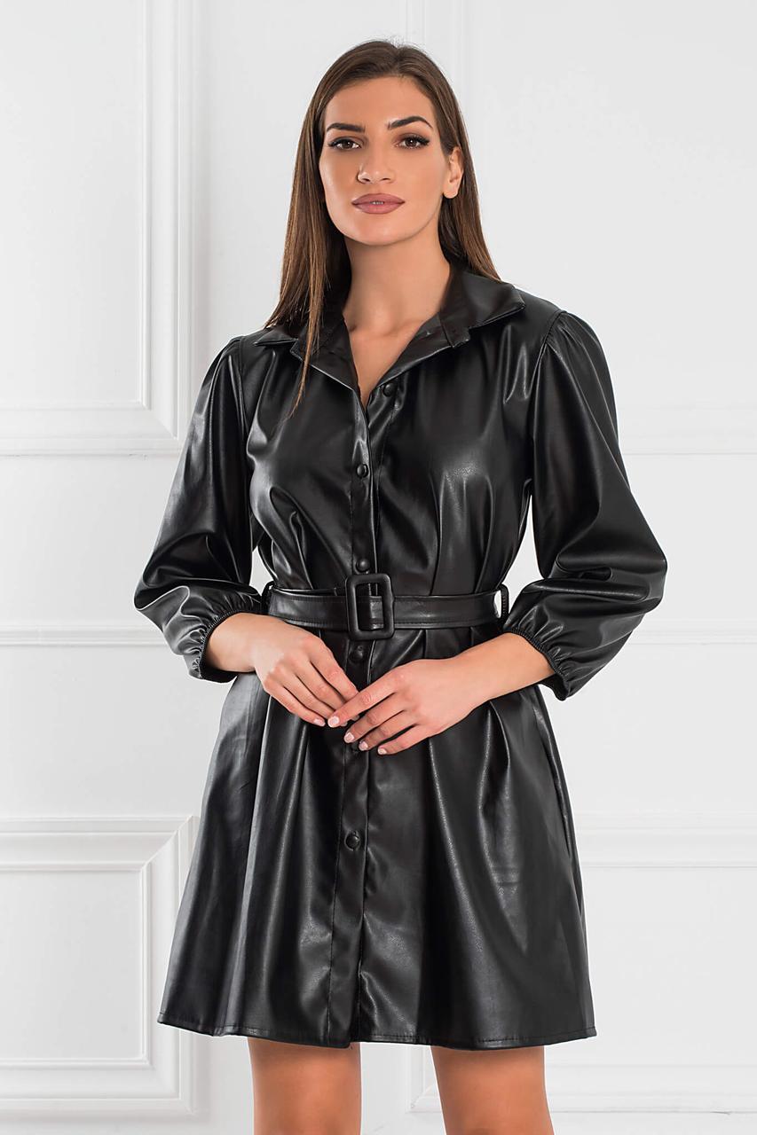 Платье рубашка экокожа черное