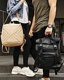 Мужской черный рюкзак ролл матовая эко кожа (качественный кожзам) городской, повседневный роллтоп, фото 6